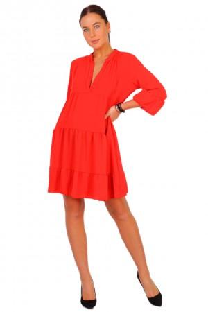 Κόκκινο φόρεμα babydoll με μανίκι με βολάν