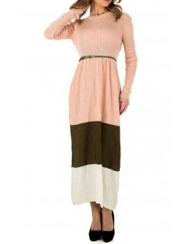 Μακρύ ριμπ φόρεμα colorblocking - Nude