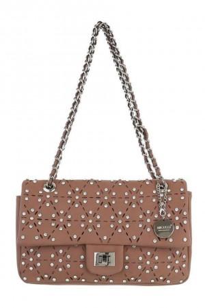 Dusty pink  τσάντα ώμου διάτρητη