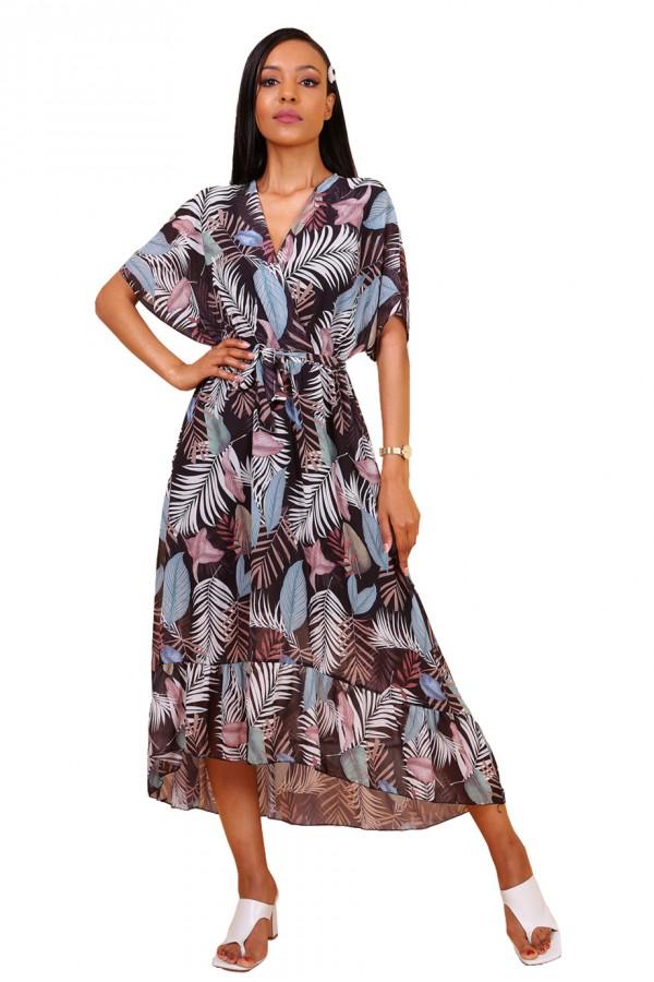 Μαύρο ασύμμετρο φόρεμα με φτερά