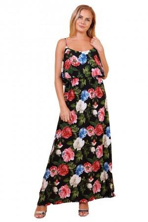 Μαύρο φλοράλ φόρεμα με βολάν