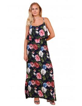 Μπλε σκούρο φλοράλ φόρεμα με βολάν