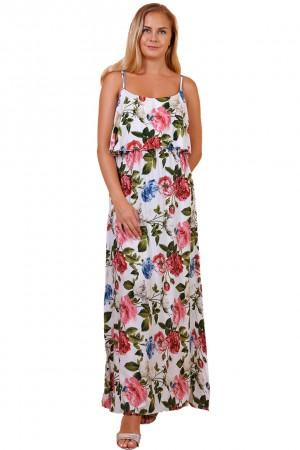 Λευκό φλοράλ φόρεμα με βολάν