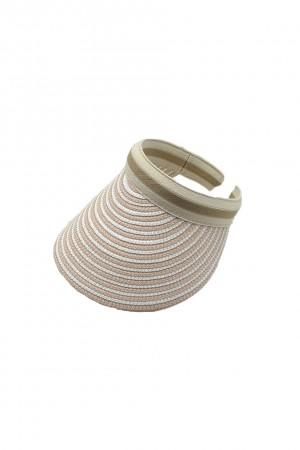Ριγέ καπέλο visor από ψάθα-Ροζ