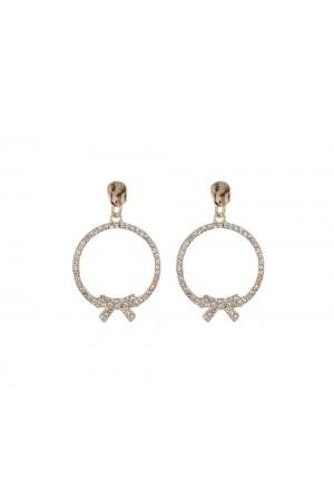 Χρυσά στρογγυλά σκουλαρίκια με λεπτομέρεια από φιόγκο