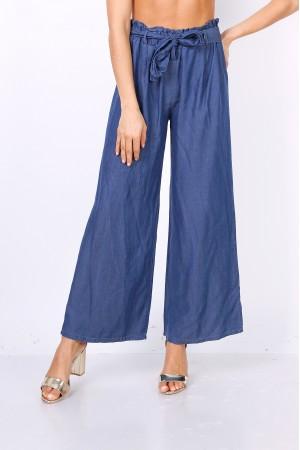 Σκούρο μπλε τζιν παντελόνα με μέση paperbag