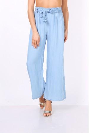 Ανοιχτό μπλε τζιν παντελόνα με μέση paperbag