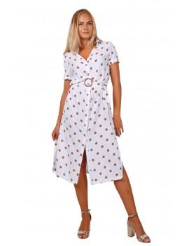 Λευκό πουά μίντι πουκαμισο-φόρεμα με ζώνη
