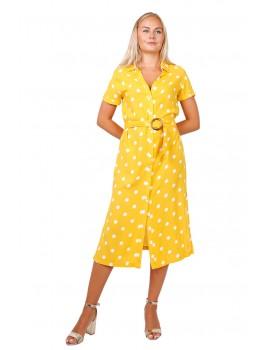 Κίτρινο πουά μίντι πουκαμισο-φόρεμα με ζώνη