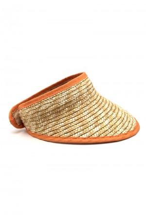 Ψάθινο καπέλο visor με πορτοκαλί λεπτομέρειες