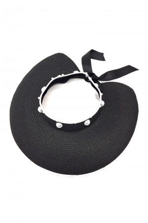 Μαύρο καπέλο visor με πέρλες