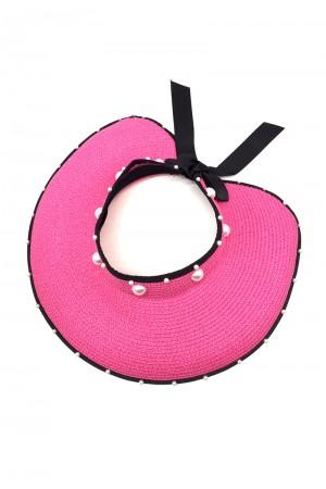 Φούξια καπέλο visor με πέρλες
