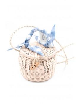 Τσάντα από ψάθα με καρώ μαντήλι-Μπλε
