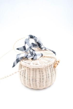 Τσάντα από ψάθα με καρώ μαντήλι-Μαύρο