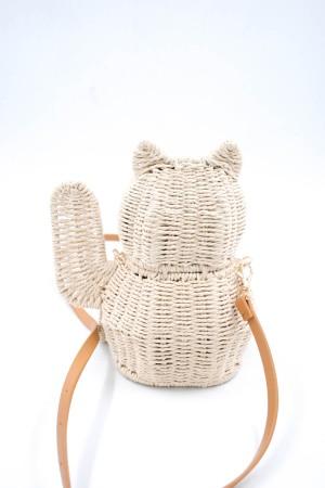 Τσάντα από ψάθα σε σχήμα γάτας