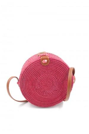 Στρογγυλή ψάθινη τσάντα
