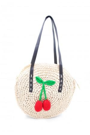 Στρογγυλή ψάθινη τσάντα με κεράσια