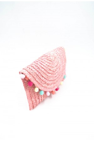 Ροζ ψάθινο τσαντάκι με πομ-πομ