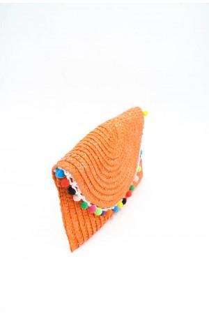 Πορτοκαλί ψάθινο τσαντάκι με πομ-πομ