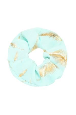 Τυρκουάζ scrunchie με φτερά