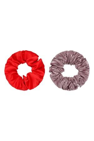 Σετ των 2 σατέν scrunchies - Μωβ/Κόκκινο
