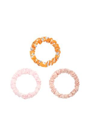 Σετ των 3 scrunchies -Ροζ/κίτρινο