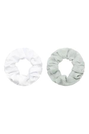 Σετ των 2 scrunchies μονόχρωμο&γκλίτερ - Ασημί