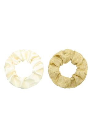 Σετ των 2 scrunchies μονόχρωμο&γκλίτερ - Χρυσό