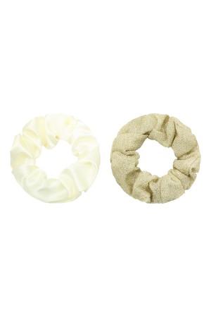 Σετ των 2 scrunchies μονόχρωμο&γκλίτερ - Μπεζ&Χρυσό