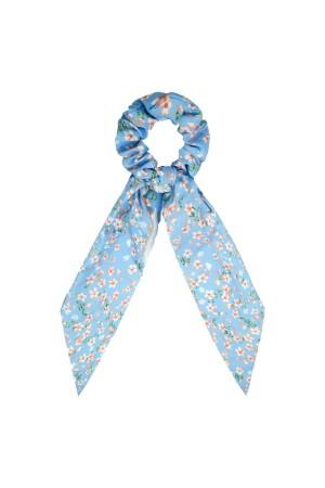 Υφασμάτινο φλοράλ scrunchie με μακριά ουρά - Μπλε