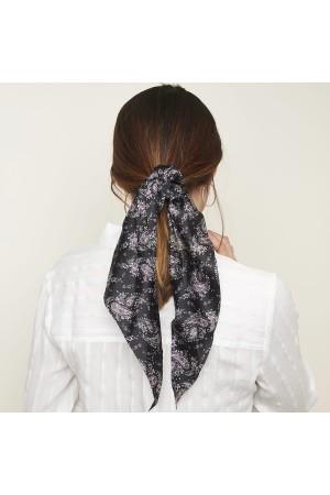 Paisley print scrunchie με μακριά ουρά - Μαύρο