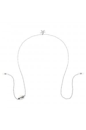 Ασημί αλυσίδα γυαλιών με κοχύλι και αστερία