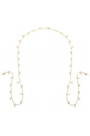 Χρυσή αλυσίδα γυαλιών με φύλλα