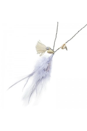 Γκρι αλυσίδα γυαλιών με κοχύλια και φτερά