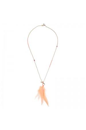 Salmon pink αλυσίδα γυαλιών με κοχύλια και φτερά