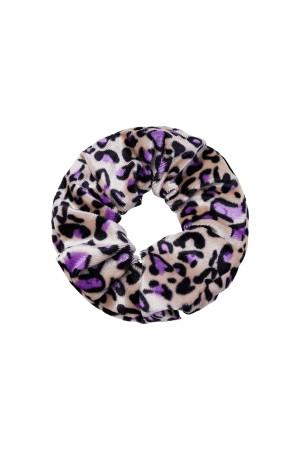 Βελούδινο scrunchie animal print-Μωβ