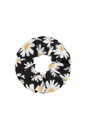 Μαύρο scrunchie με μαργαρίτες