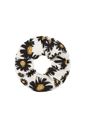 Λευκό scrunchie με μαργαρίτες