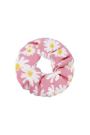 Ροζ scrunchie με μαργαρίτες
