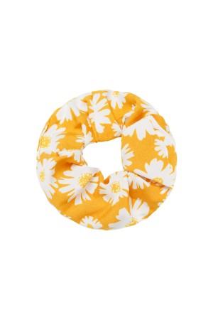 Κίτρινο scrunchie με μαργαρίτες
