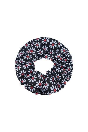 Μαύρο scrunchie με μικρές μαργαρίτες