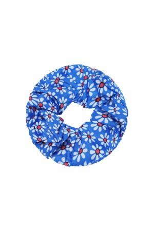 Μπλε scrunchie με μικρές μαργαρίτες