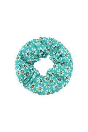 Πράσινο scrunchie με μικρές μαργαρίτες