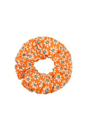 Πορτοκαλί scrunchie με μικρές μαργαρίτες
