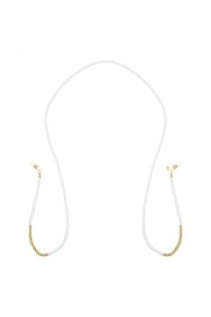 Αλυσίδα γυαλιών με λευκές και χρυσές πέρλες