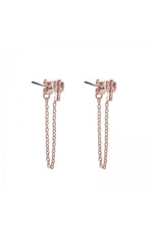 Σκουλαρίκια κάκτοι με αλυσίδα - Ροζ χρυσό