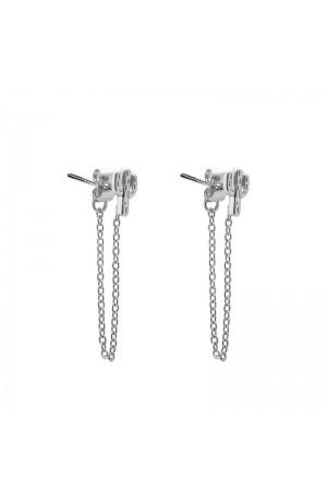 Σκουλαρίκια κάκτοι με αλυσίδα - Ασημί