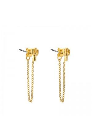 Σκουλαρίκια κάκτοι με αλυσίδα - Χρυσό