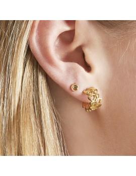 Χρυσά σκουλαρίκια κρικάκια με καρδιές