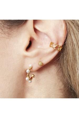 Ασημί σκουλαρίκια μικρά κρικάκια με πέρλες - επίχρυσα